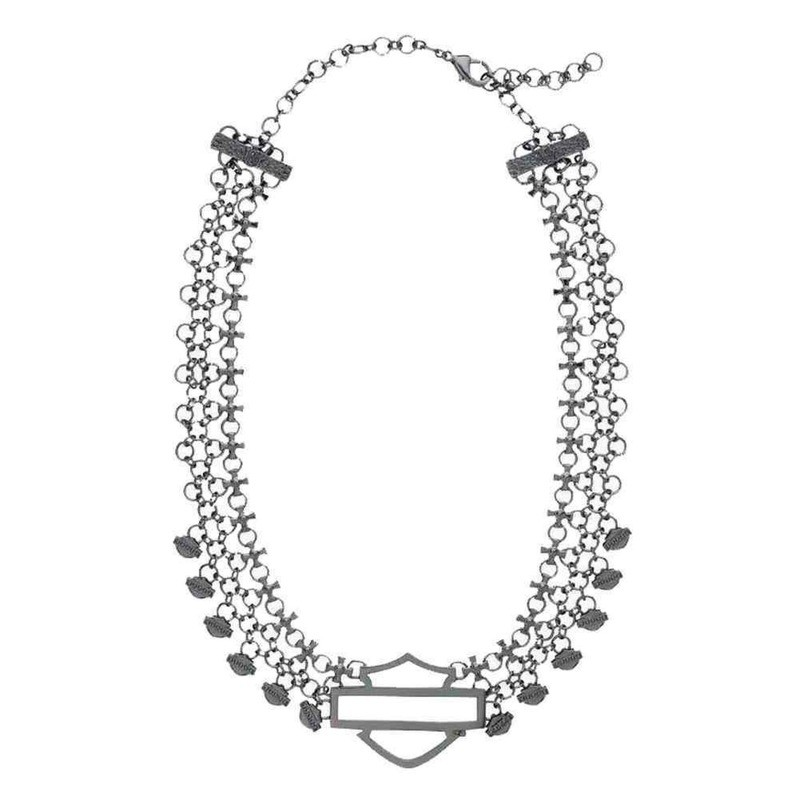Bar & Shield Logo Charm Multi-Chain Necklace Women