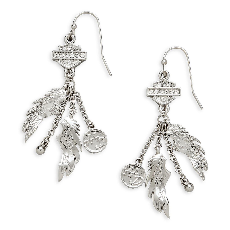 Bar & Shield Winged Drop Earrings Women