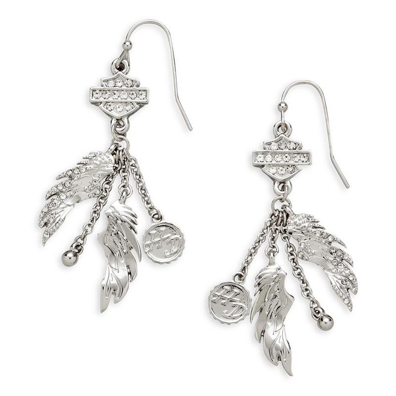 Earrings Women Bar & Shield Winged Drop