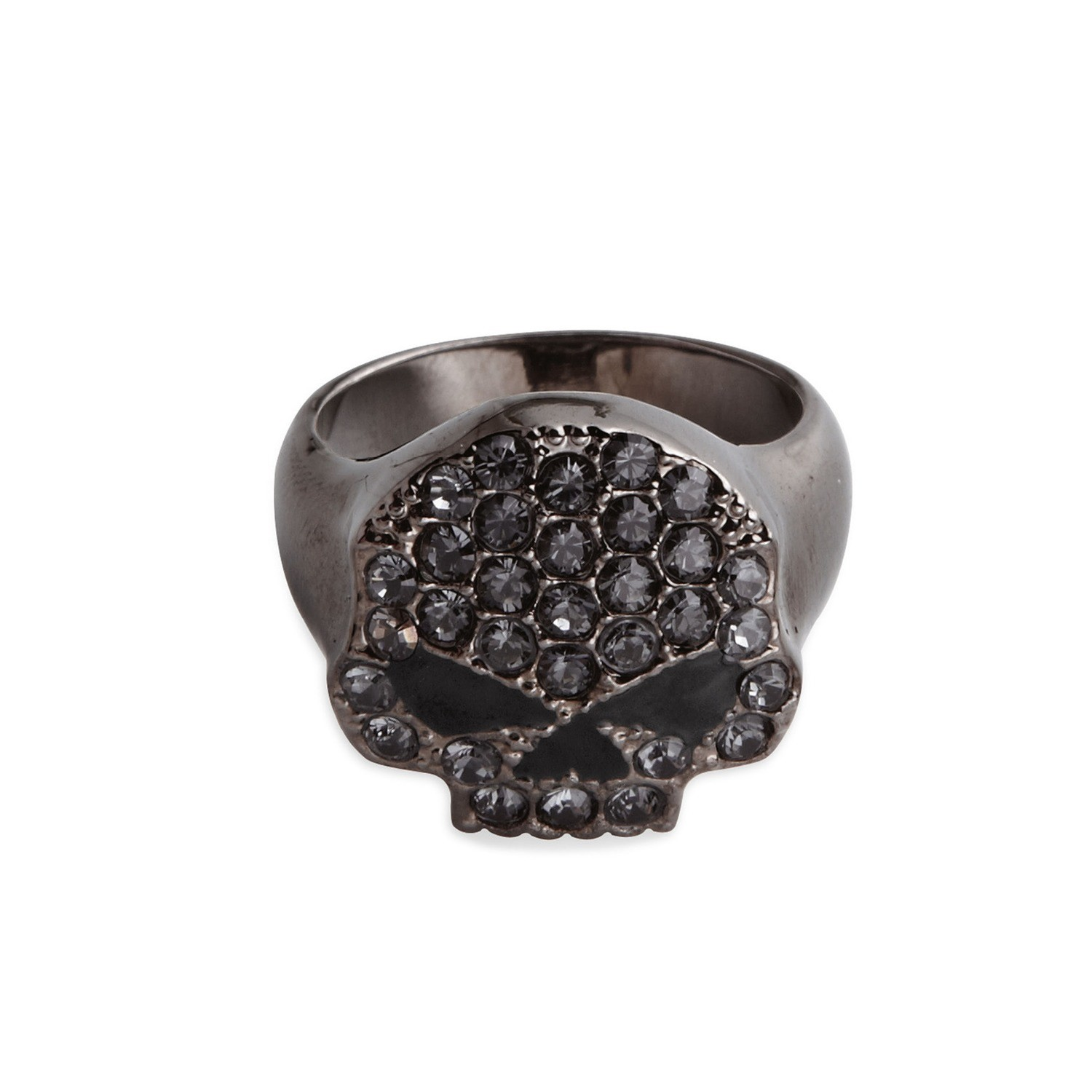 Ring Women Rhinestone Skull Stretch