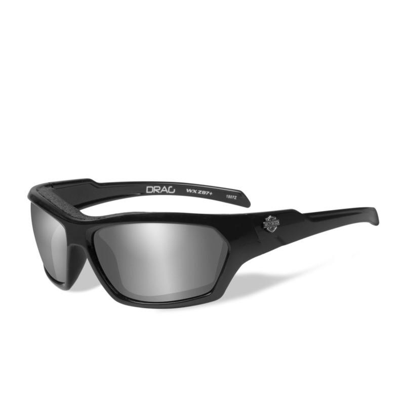 Wiley X HD Drag Silver Flash Smoke Grey Lenses / Gloss Black Frame Biker Glasses