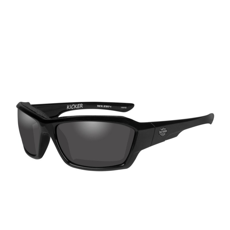 Wiley X HD Kicker Smoke Grey Lenses / Gloss Black Frame Biker Glasses