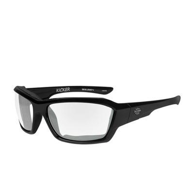 Wiley X HD Kicker Clear Lenses / Gloss Black Frame Biker Glasses