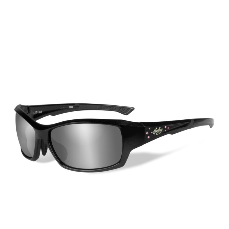 Wiley X HD Lace Grey Silver Lenses / Gloss Black Quartz with Stones Frame Biker Glasses