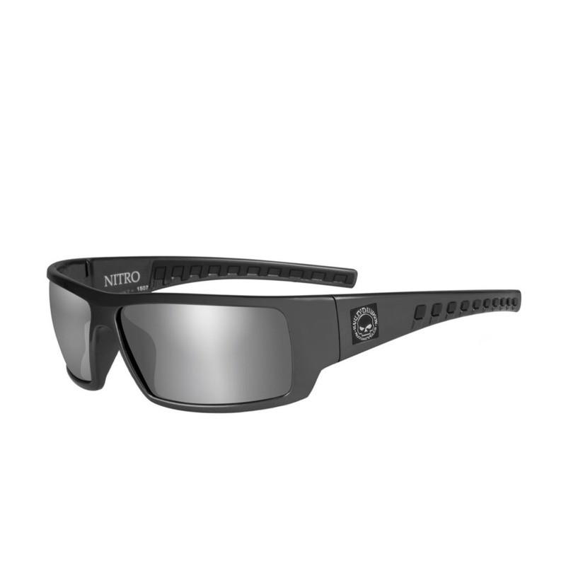Wiley X HD Nitro Silver Flash Smoke Grey Lenses / Shiny Grey Frame Biker Glasses