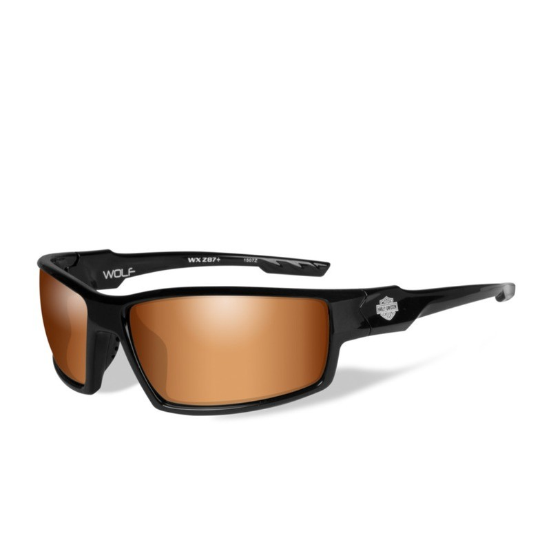 Wiley X HD Wolf Bronze Flash Lenses / Gloss Black Frame Biker Glasses