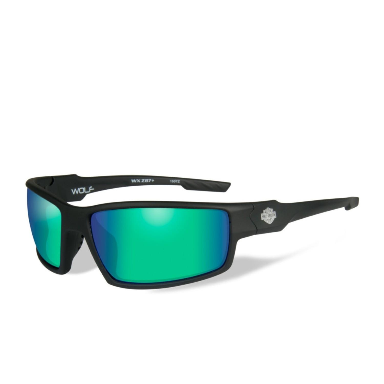 Wiley X HD Wolf Green Mirror Lenses / Matte Black Frame Biker Glasses