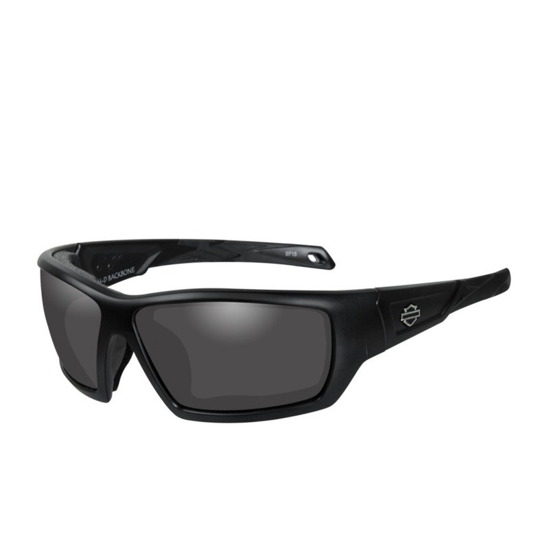 Wiley X HD Backbone Smoke Grey Lenses / Matte Black Frame Biker Glasses with Removable Gaskets