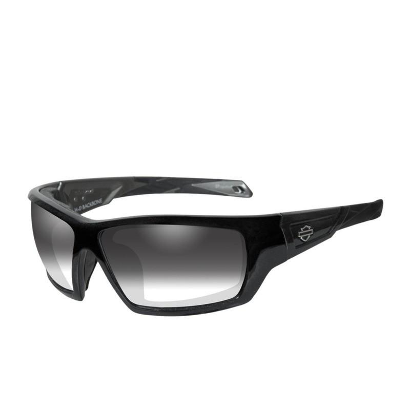 Wiley X HD Backbone LA™ Light Adjusting Smoke Grey Lenses / Black Quartz Frame Biker Glasses with Removable Gaskets