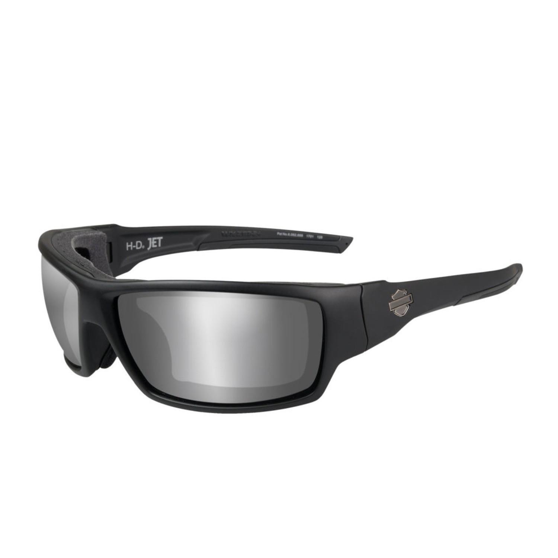 Wiley X HD Jumbo PPZ™ Silver Flash Smoke Grey Lenses / Matte Black Frame Biker Glasses with Removable Gaskets