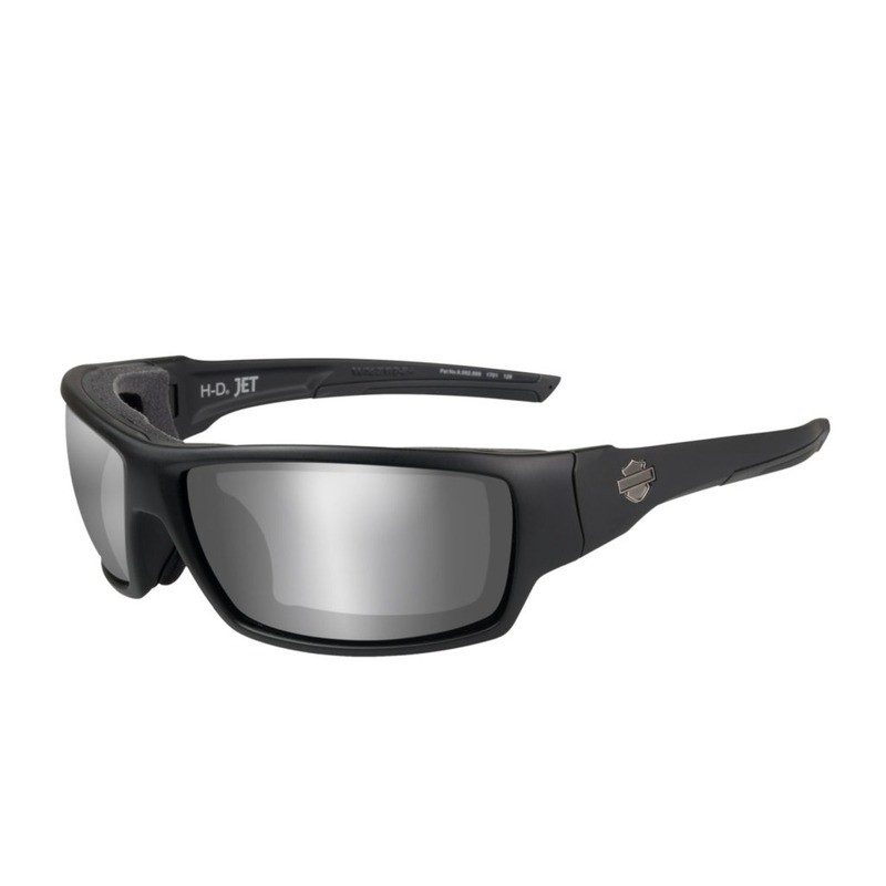 Wiley X HD Jet PPZ™ Silver Flash Smoke Grey Lenses / Matte Black Frame Biker Glasses with Removable Gaskets