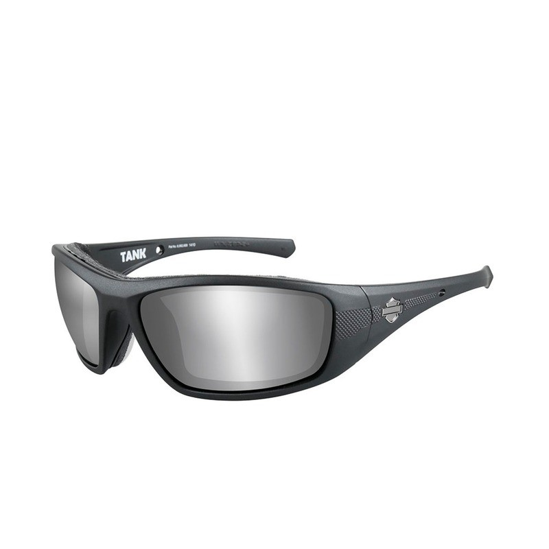 Wiley X HD Tank Silver Flash Smoke Grey Lenses / Matte Black Frame Biker Glasses with Removable Gaskets