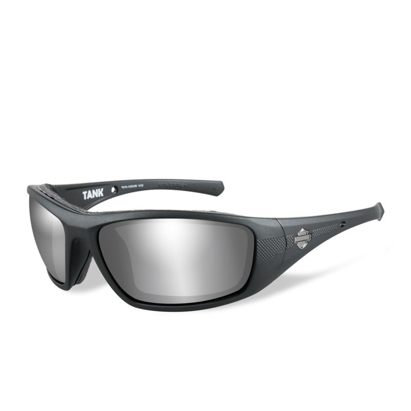 Wiley X HD Tank PPZ™ Silver Flash Smoke Grey Lenses / Matte Black Frame Biker Glasses with Removable Gaskets
