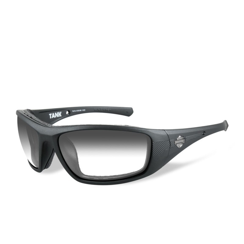 Wiley X HD Tank LA™ Light Adjusting Smoke Grey Lenses / Gloss Black Frame Biker Glasses with Removable Gaskets