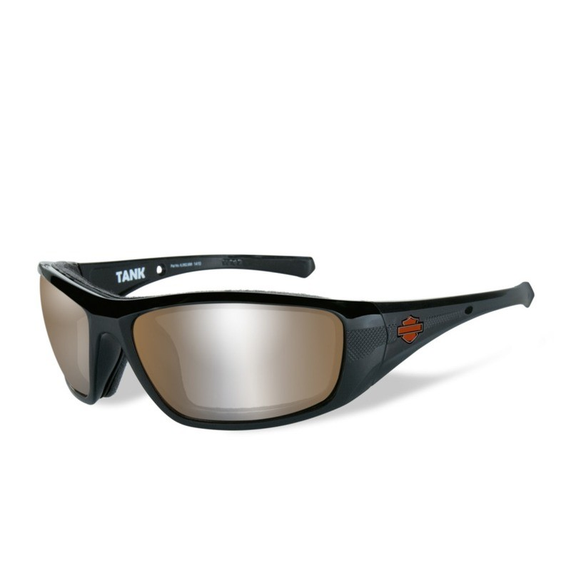 Wiley X HD Tank LA™ Light Adjusting Copper Lenses / Gloss Black Frame Biker Glasses with Removable Gaskets