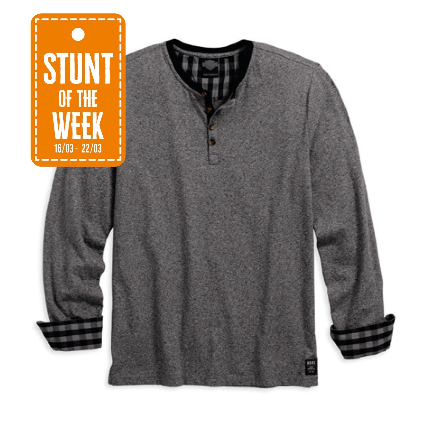 STUNT OF THE WEEK: Plaid Accent Long Sleeve Henley Men