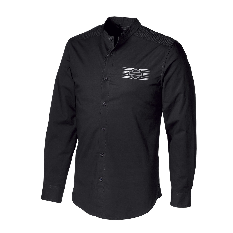 Shirt Men Long Sleeve H-D® Moto Multi-Stitch Yoke Stretch Slim Fit