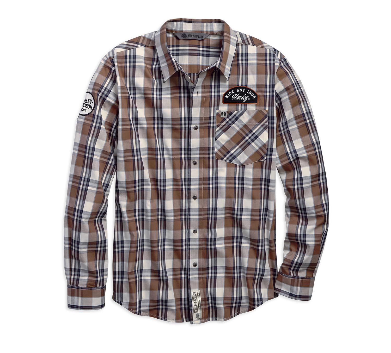 Shirt Men Long Sleeve Garage Kick Ass Iron Plaid Slim Fit