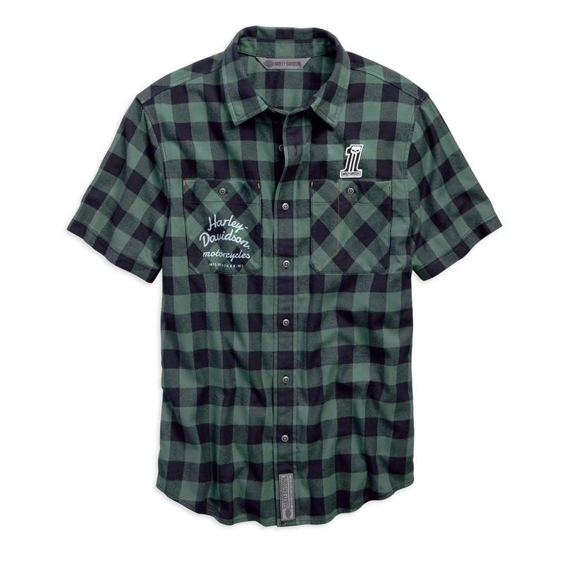 Shirt Men Short Sleeve Garage Patch Plaid Slim Fit