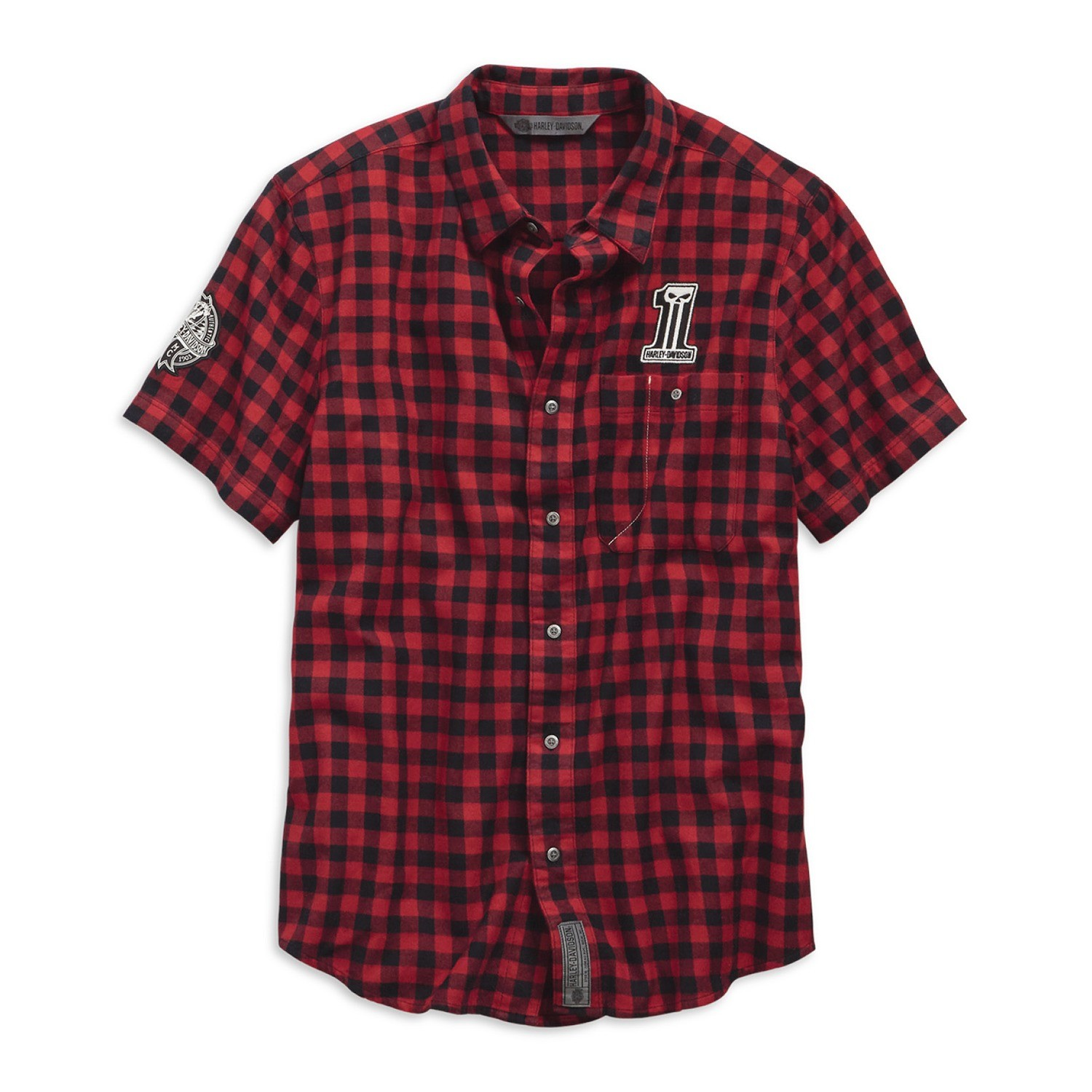 Shirt Men Short Sleeve Garage Checked Plaid Slim Fit
