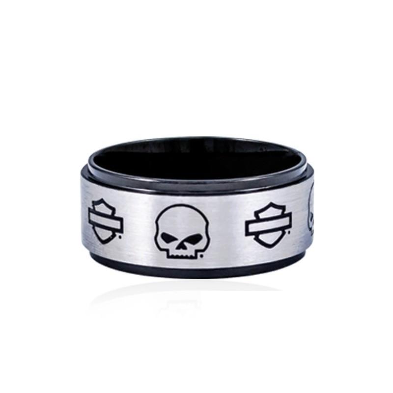Ring Men/Women Skull & B&S on Black Steel Band