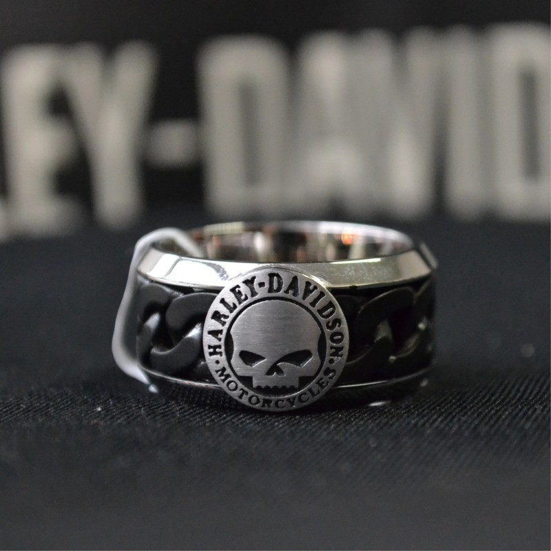 H-D Stainless Steel Willie G Skull Black Steel Chain Ring Men