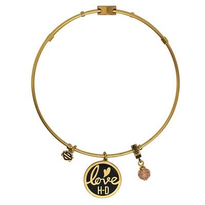 Bracelet Women H-D Stainless Steel Gold Tone Love H-D Charm Bangle