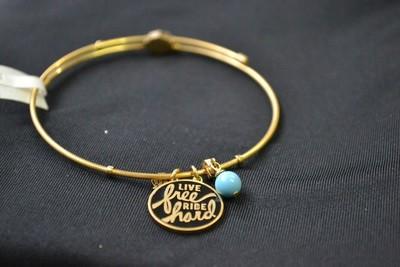 Bracelet Women H-D Stainless Steel Gold Tone Live Free, Ride Hard Charm Bangle