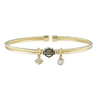 Bracelet Women H-D Gold Tone Braided Double Bangle