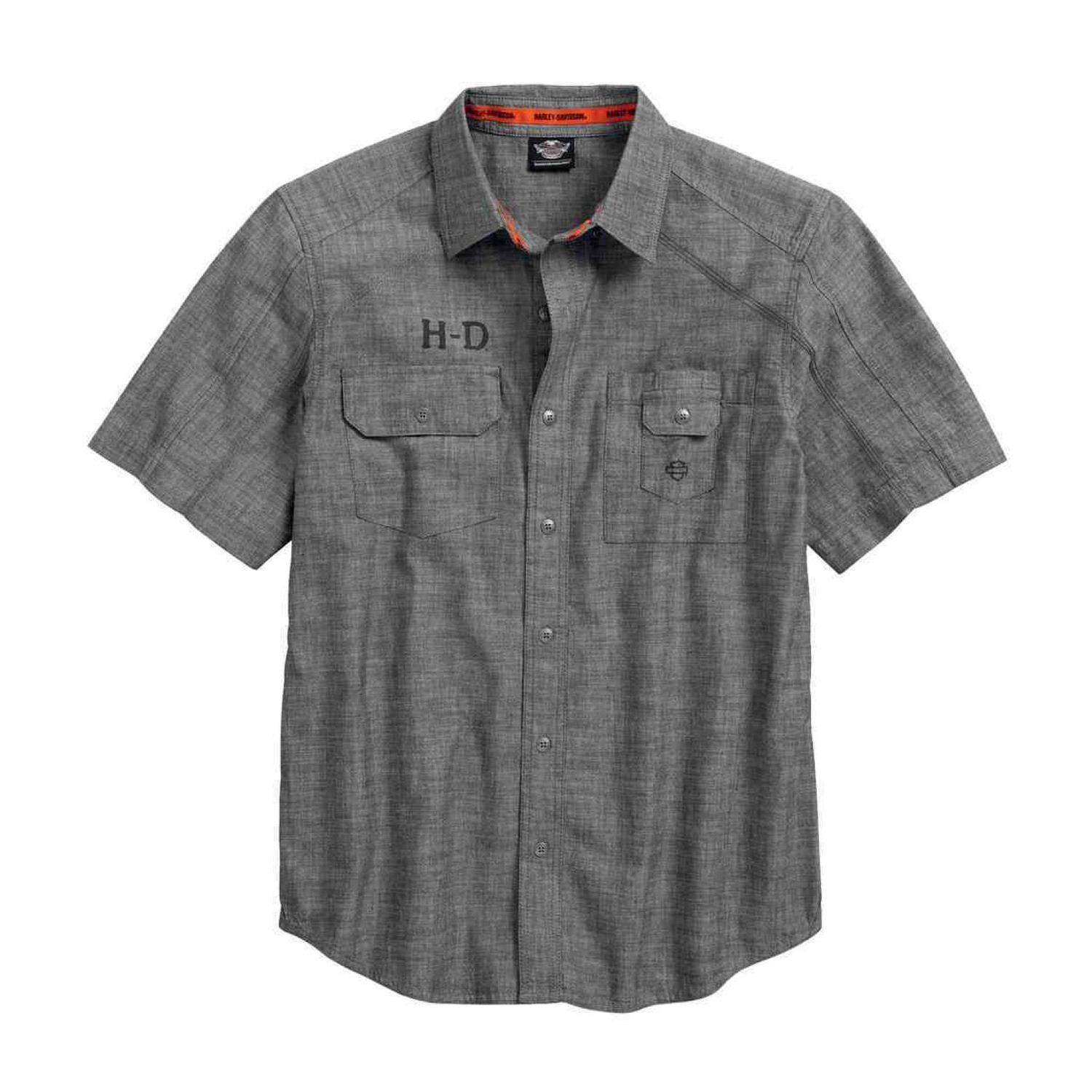 Shirt Men Short Sleeve Textured Canvas Short Sleeve