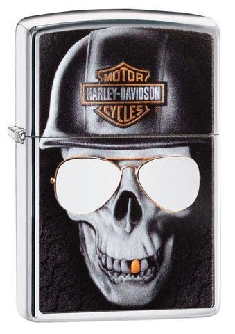 ZIPPO Harley-Davidson® Skull with chromed-out sunglasses, creating a glistening effect