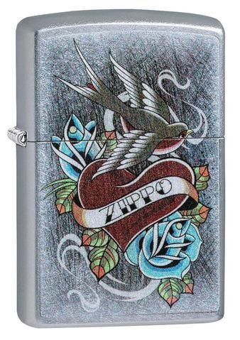 ZIPPO Tattoo Style with Heart, Swallow and Flowers