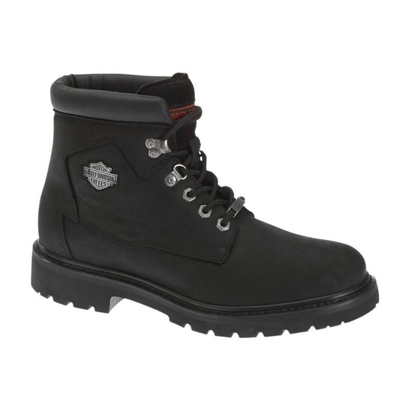 Boots Men Laced H-D Badlands Black Leather