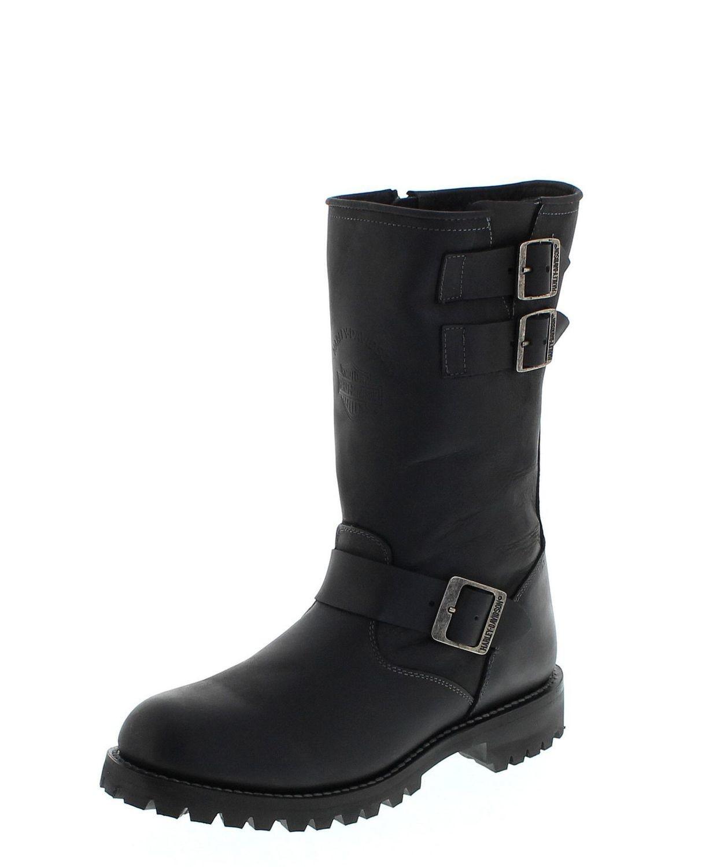 "Boots Men Zipper 11"" Engineer Black Leather"