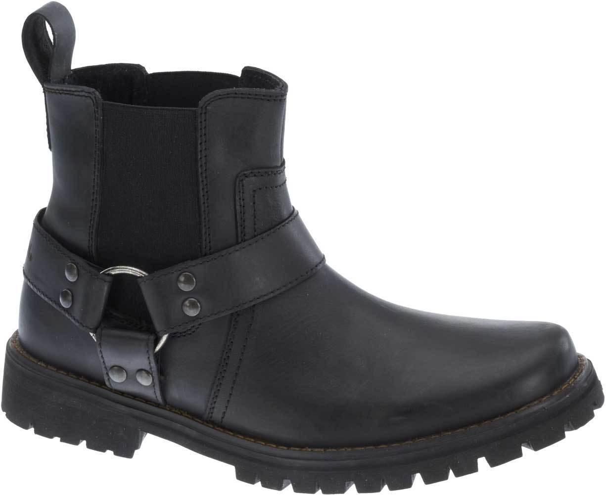 Duran Black Leather Bikerboots Men