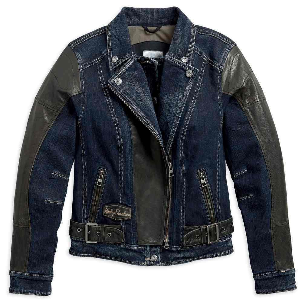 Vix Denim & Leather Triple Vent Riding Biker Jacket Women
