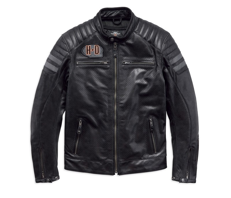 Hutto Perforated Leather Riding Jacket Men