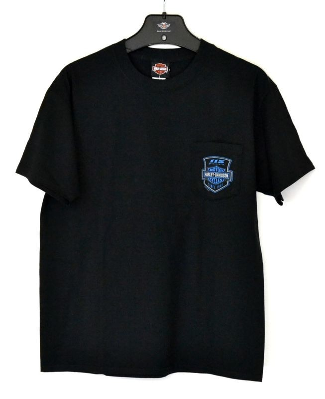 T-Shirt Men Short Sleeve Backprint Anniversary Shield Pocket