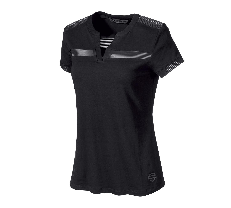 T-Shirt Women Short Sleeve H-D® Moto Striped Mesh Accent