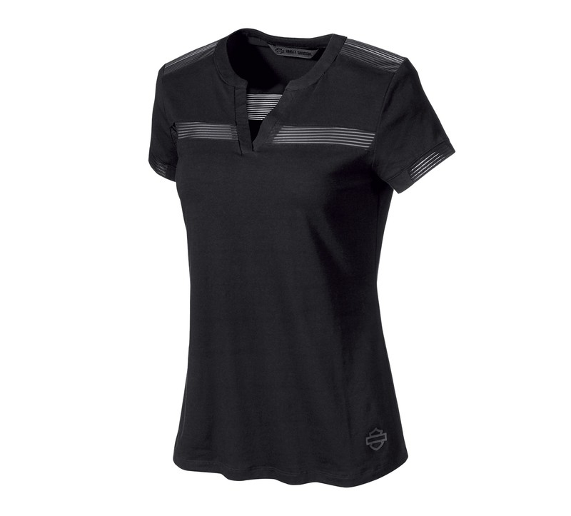 H-D® Moto Striped Mesh Accent T-Shirt Women