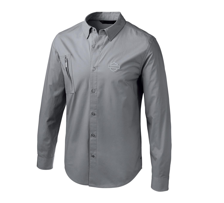 Shirt Men Long Sleeve H-D® Moto Angled Pocket Stretch Slim Fit