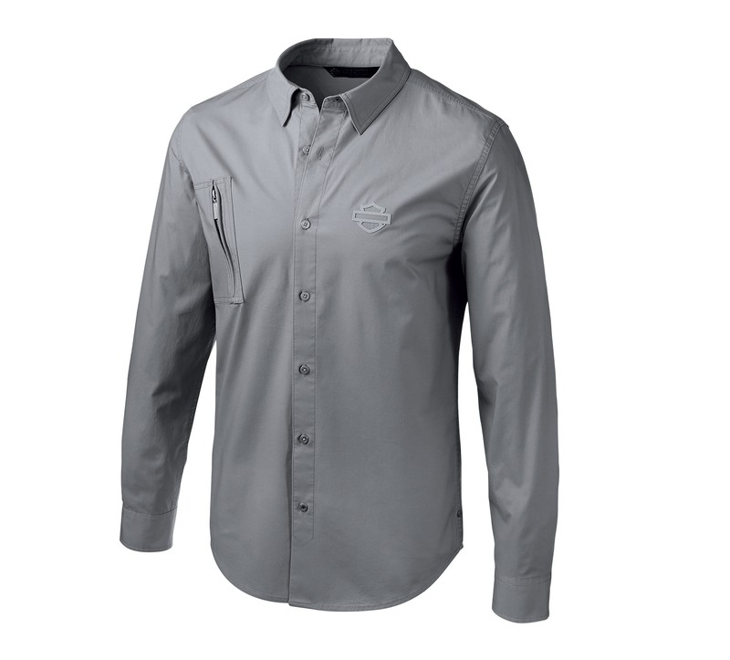 Shirt Men Long Sleeve H-D® Moto Angled Pocket Stretch Slim Fit