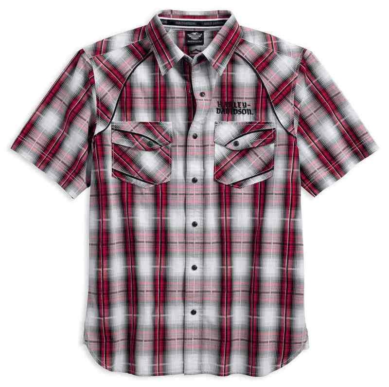 Shirt Men Short Sleeve Modified Yoke Americana Plaid