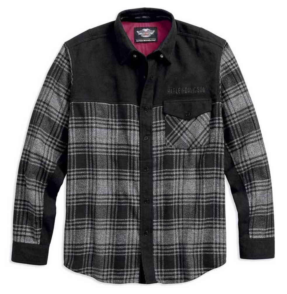 Shirt Men Long Sleeve Marled Contrasting Plaid