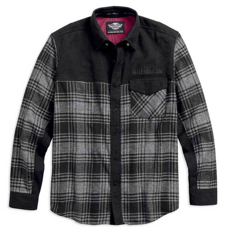 Shirt Men Long Sleeve Marled Contrasting Plaid