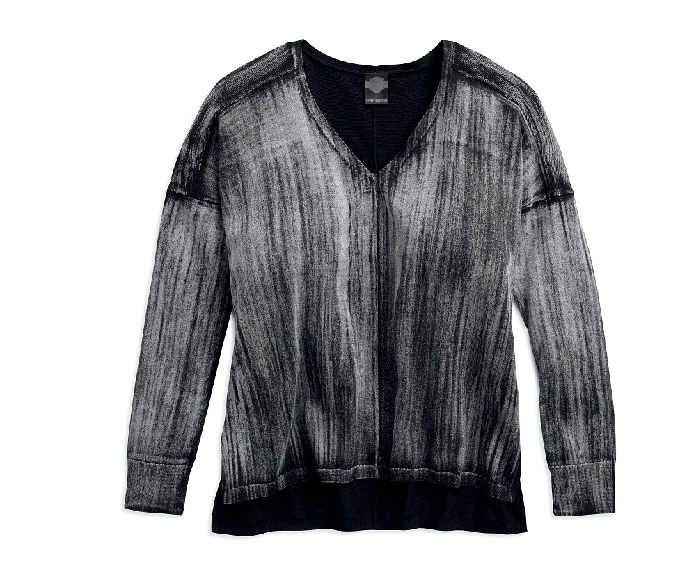 Black Label Dolman Sleeve Acid Wash Sweater Slim Fit Women