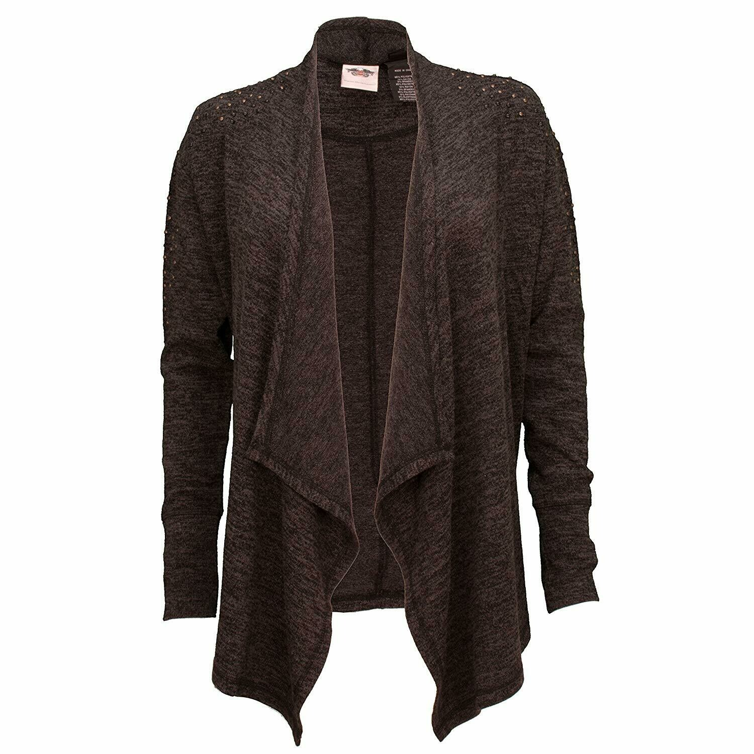 Studded Accent Open Front Cardigan Women