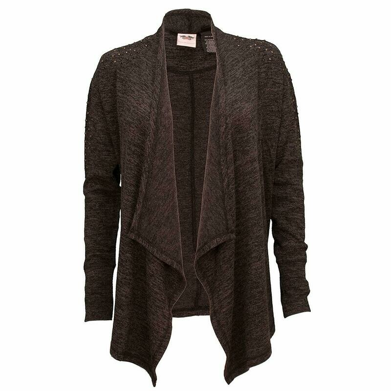 Pullover Women Cardigan Studded Accent Open Front Cardigan