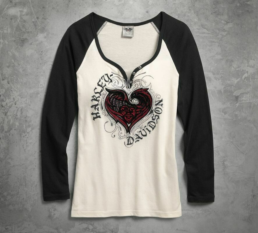 T-Shirt Women Long Sleeve Stylized Heart Raglan