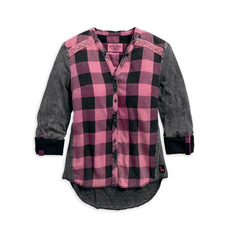 Shirt Women Long Sleeve Pink Label Buffalo Plaid